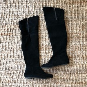 Flat, Suede-Like Thigh High Black Boot